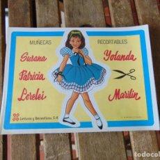 Coleccionismo Recortables: MUÑECAS RECORTABLES SUSANA , YOLANDA , PATRICIA,LORELEI Y MARILIN DE LECTURAS RECREATIVAS S.A. Lote 296788778