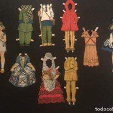 Coleccionismo Recortables: RECORTABLE MUÑECAS ANTIGUAS 8 VESTIDOS CIRCA 1920. Lote 296878033