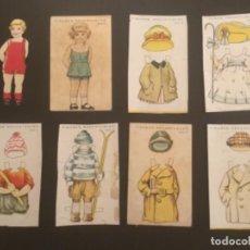 Coleccionismo Recortables: RECORTABLE ANTIGUO FIGURAS MUÑECAS NIÑO Y NIÑA 6 VESTIDOS SERIE B 10 DIBUJOS CIRCA 1920. Lote 296883968