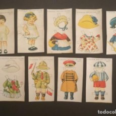 Coleccionismo Recortables: RECORTABLE ANTIGUO FIGURAS MUÑECAS NIÑO Y NIÑA 7 VESTIDOS SERIE A 10 DIBUJOS CIRCA 1920. Lote 296886928