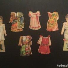Coleccionismo Recortables: RECORTABLE ANTIGUO FIGURAS MUÑECAS 2 NIÑAS 5 VESTIDOS PUBLICIDAD NESTLE CIRCA 1920. Lote 296888343