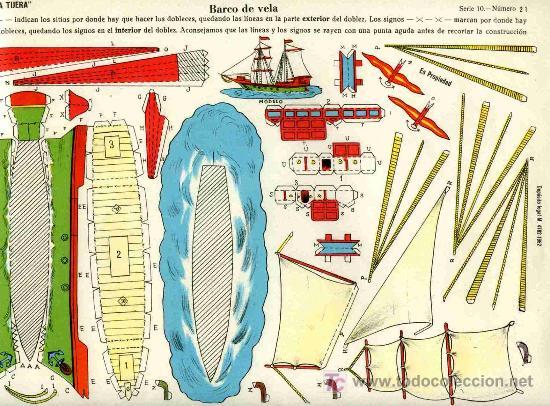RECORTABLE EDICIONES LA TIJERA, SERIE 10, Nº 21, BARCO DE VELA (Coleccionismo - Recortables - Transportes)