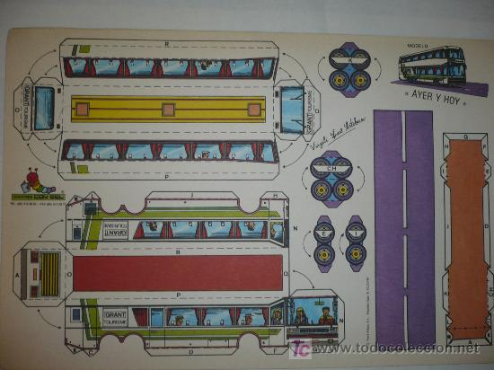 RECORTABLE AYER Y HOY AUTOBUS EDICIONES CON-BEL TAMAÑO 250X380 M/M. (Coleccionismo - Recortables - Transportes)