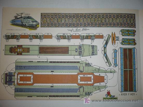 RECORTABLE AYER Y HOY TREN EDICIONES CON-BEL TAMAÑO 250X380 M/M. (Coleccionismo - Recortables - Transportes)