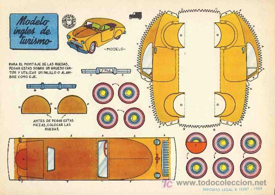 RECORTABLE DE TRANSPORTES: MODELO INGLES DE TURISMO. 1959 (ED.BRUGUERA) (Coleccionismo - Recortables - Transportes)