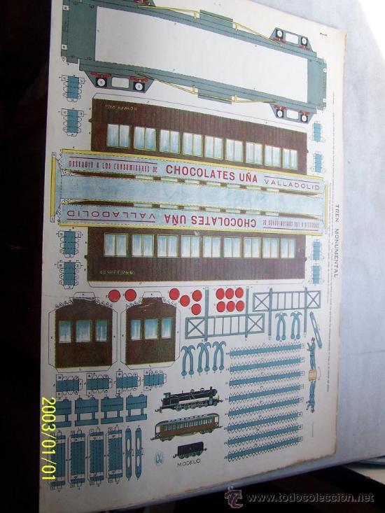 TREN MONUMENTAL- 35 X 50 CM-4 LÁMINAS- CHOCOLATES UÑA.- VALLADOLID. (Coleccionismo - Recortables - Transportes)
