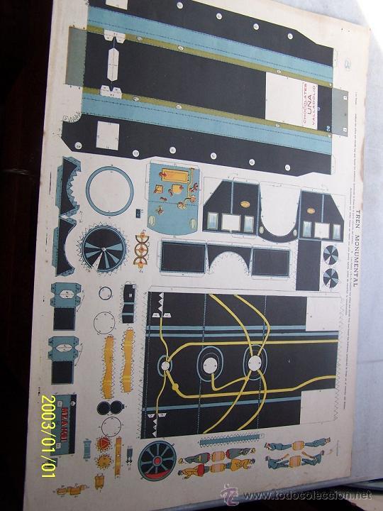 Coleccionismo Recortables: TREN MONUMENTAL- 35 X 50 CM-4 LÁMINAS- CHOCOLATES UÑA.- VALLADOLID. - Foto 3 - 15671062