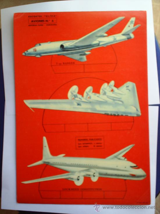 RECORTES ULTRA 1961 AVIONES N.6 ,EN CARTULINA -EDITORIAL ROMA, RECORTABLE (Coleccionismo - Recortables - Transportes)
