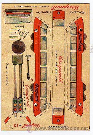CONSTRUCCIONES. TREN RENFE. CERGUMIL. MALAGA. Nº 13. ALIMENTO VEGETARIANO COMPLETO. 15 X 22 CM. (Coleccionismo - Recortables - Transportes)