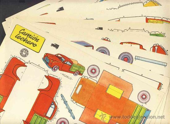COLECCION COMPLETA DE 9 RECORTABLES DE TRANSPORTES. COCHES (ED.BRUGUERA 1959) (V.FOTOS ADICIONALES) (Coleccionismo - Recortables - Transportes)