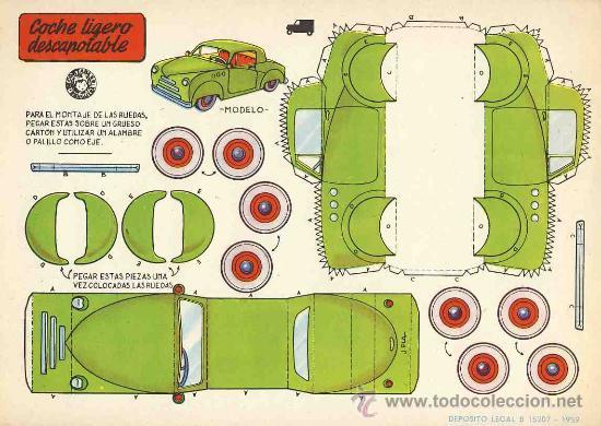 Coleccionismo Recortables: Coleccion completa de 9 recortables de transportes. Coches (Ed.Bruguera 1959) (v.fotos adicionales) - Foto 6 - 28268386