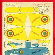 Colecionismo Recortáveis: RECORTABLE AVION DE CAZA , PUBLICIDAD CEREGUMIL , R41. Lote 46535136