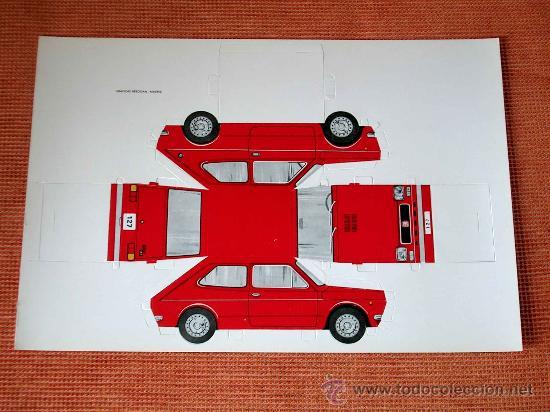 RECORTABLE TROQUELADO SEAT 127, TIPO FIAT, GRÁFICAS BREOGÁN, MADRID, AÑOS 70. (Coleccionismo - Recortables - Transportes)