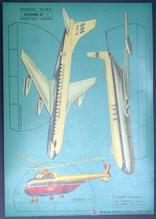 RECORTABLE AVIONES. RECORTES ULTRA Nº 1. EDITORIAL ROMA. BARCELONA, 1961. (Coleccionismo - Recortables - Transportes)