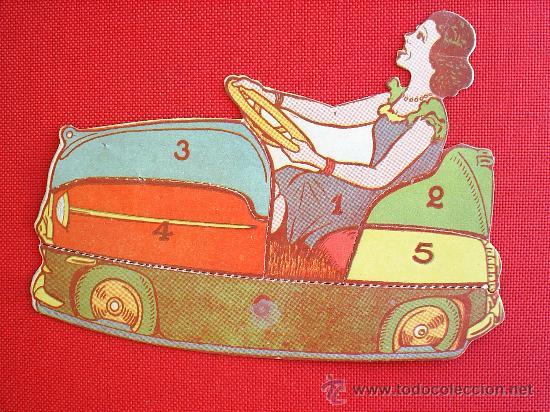 VALE-RECORTABLE -AUTO CHOQUE ,TROQUELADO , SUPUESTAMENTE DEL TIBIDABO 1929 (Coleccionismo - Recortables - Transportes)