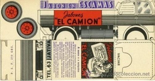 JÁTIVA (VALENCIA).- 10 RECORTABLES CON PUBLICIDAD DE JABONES EL CAMIÓN.- CADA UNIDAD ES.... (Coleccionismo - Recortables - Transportes)