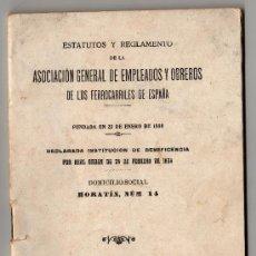 Coleccionismo Recortables: ESTATUTOS Y REGLAMENTO DE EMPLEADOS Y OBREROS DE LOS FERROCARRILES DE ESPAÑA MADRID 1920. Lote 29100010