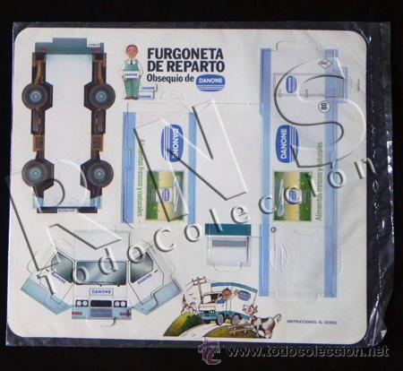 RECORTABLE - FURGONETA DE REPARTO DE DANONE - PRECINTADO - PUBLICIDAD - JUGUETE - TRANSPORTE (Coleccionismo - Recortables - Transportes)