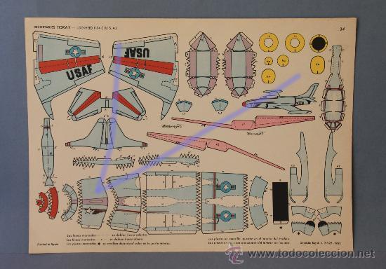 1 AVIÓN RECORTABLE DE TORAY Nº 34.-LOCKHEED F-94 C (U.S.A) DE 40X23CM. (Coleccionismo - Recortables - Transportes)