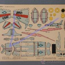 Coleccionismo Recortables: 1 AVIÓN RECORTABLE DE TORAY Nº 34.-LOCKHEED F-94 C (U.S.A) DE 40X23CM.. Lote 29732049