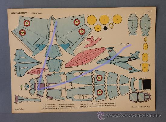 1 AVIÓN RECORTABLE DE TORAY Nº 39.-FIAT G-82 (ITALIA) DE 40X23CM. (Coleccionismo - Recortables - Transportes)
