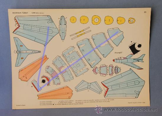 1 AVIÓN RECORTABLE DE TORAY Nº 35.-SABRE MK6 (U.S.A) DE 40X23CM. DE 1962. (Coleccionismo - Recortables - Transportes)