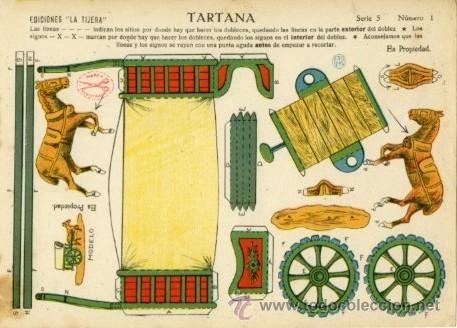 EDICIONES LA TIJERA.- RECORTABLE: TARTANA.- SERIE 5 Nº 1 (Coleccionismo - Recortables - Transportes)