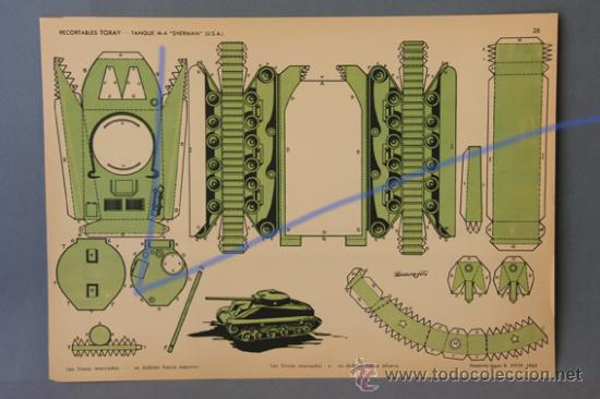 1 TANQUE M-4 , SHERMAN (USA), RECORTABLES TORAY Nº28. DE 1962. MEDIDAS 40,5X29CM. (Coleccionismo - Recortables - Transportes)