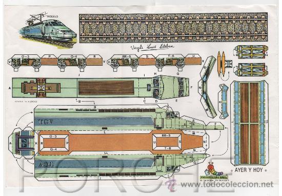 1 RECORTABLE AYER Y HOY, TREN GRAN VELOCIDAD DE VIRGILI LUIS ESTEBAN. (Coleccionismo - Recortables - Transportes)