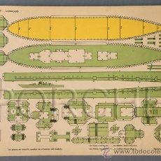 Coleccionismo Recortables: 1 RECORTABLE TORAY DE 1962- BARCO- ACORAZADO- CARTULINA DE 40X29CM.. Lote 34389837