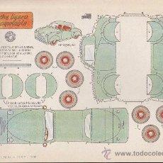 Coleccionismo Recortables: RECORTABLE BRUGUERA 23.50 CMS X 16.50 CMS COCHE LIGERO DESCAPOTABLE. Lote 35413398