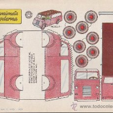 Coleccionismo Recortables: RECORTABLE BRUGUERA 23.50 CMS X 16.50 CMS CAMIONETA MODERNA. Lote 35413514