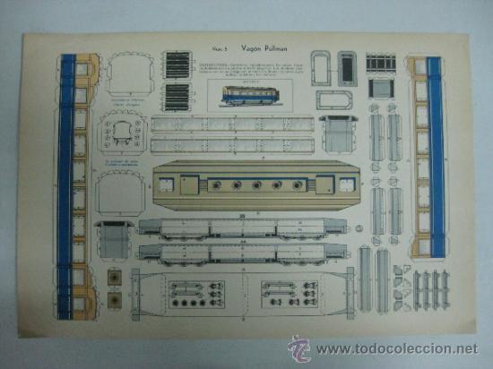 VAGON PULLMAN - Nº 5 - AÑOS 40 - ED. URIARTE, ZARAGOZA (Coleccionismo - Recortables - Transportes)