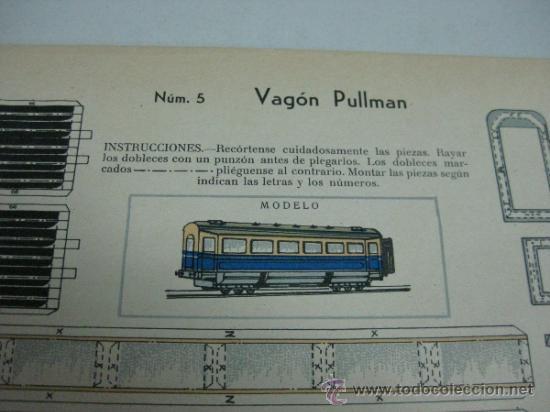 Coleccionismo Recortables: VAGON PULLMAN - Nº 5 - AÑOS 40 - ED. URIARTE, ZARAGOZA - Foto 2 - 77288871