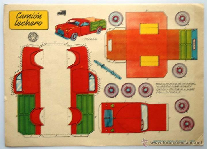 RECORTABLE BRUGUERA. EDICION DEL AÑO 1959. CAMIONETA LECHERO. (Coleccionismo - Recortables - Transportes)