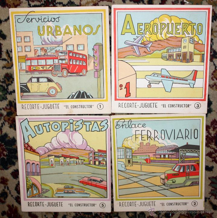LOTE DE 4 NUMEROS RECORTE JUGUETE (EL CONSTRUCTOR) EDITORIAL ROMA. BARCELONA, 1960 (Coleccionismo - Recortables - Transportes)