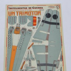 Coleccionismo Recortables: RECORTABLE INSTRUMENTOS DE GUERRA Nº 4, AVION TRIMOTOR CONSTRUCCIONES COSTALES, MIDE 32 X 23 CMS, AÑ. Lote 47156836