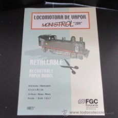 Coleccionismo Recortables: FERROCARRILES GENERALITAT LOCOMOTORA MONISTROL 209 RECORTABLE. Lote 51625955
