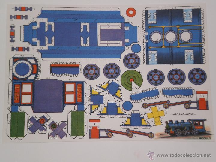 RECORTABLE MODELO MECANO-MOVIL .LAMINA DE 33 X 24 CMS . AÑOS 70 . EDITORA DESCONOCIDA . (Coleccionismo - Recortables - Transportes)