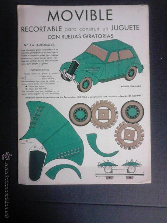 MOVIBLE- RECORTABLE CONSTRUCCION JUGUETE - NUM. 1 A - AUTOMOVIL RUEDAS GIRATORIAS - VERDE- (V-3510) (Coleccionismo - Recortables - Transportes)