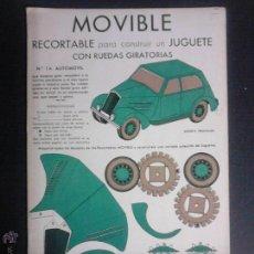 Coleccionismo Recortables: MOVIBLE- RECORTABLE CONSTRUCCION JUGUETE - NUM. 1 A - AUTOMOVIL RUEDAS GIRATORIAS - VERDE- (V-3510). Lote 52639232