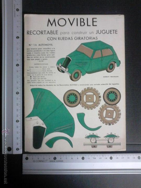 Coleccionismo Recortables: MOVIBLE- RECORTABLE CONSTRUCCION JUGUETE - NUM. 1 A - AUTOMOVIL RUEDAS GIRATORIAS - VERDE- (V-3510) - Foto 4 - 52639232