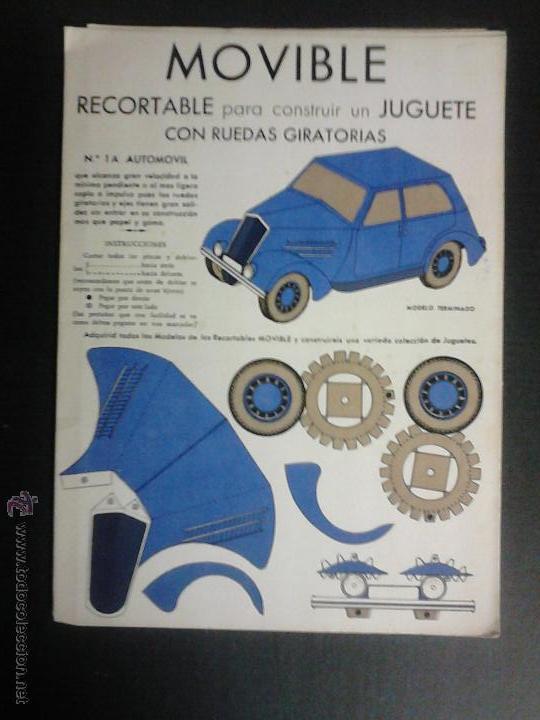 MOVIBLE- RECORTABLE CONSTRUCCION JUGUETE - NUM. 1 A - AUTOMOVIL RUEDAS GIRATORIAS - AZUL - (V-3511) (Coleccionismo - Recortables - Transportes)