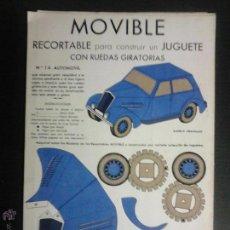 Coleccionismo Recortables: MOVIBLE- RECORTABLE CONSTRUCCION JUGUETE - NUM. 1 A - AUTOMOVIL RUEDAS GIRATORIAS - AZUL - (V-3511). Lote 52639251