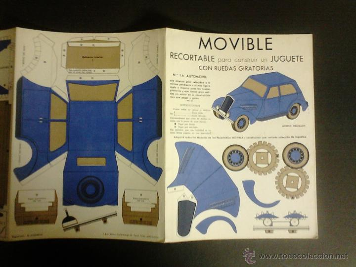 Coleccionismo Recortables: MOVIBLE- RECORTABLE CONSTRUCCION JUGUETE - NUM. 1 A - AUTOMOVIL RUEDAS GIRATORIAS - AZUL - (V-3511) - Foto 3 - 52639251