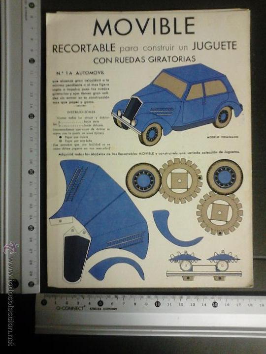 Coleccionismo Recortables: MOVIBLE- RECORTABLE CONSTRUCCION JUGUETE - NUM. 1 A - AUTOMOVIL RUEDAS GIRATORIAS - AZUL - (V-3511) - Foto 4 - 52639251