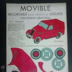 Coleccionismo Recortables: MOVIBLE- RECORTABLE CONSTRUCCION JUGUETE - NUM. 2-FURGONETA RUEDAS GIRATORIAS - ROJO - (V-3512). Lote 52639270