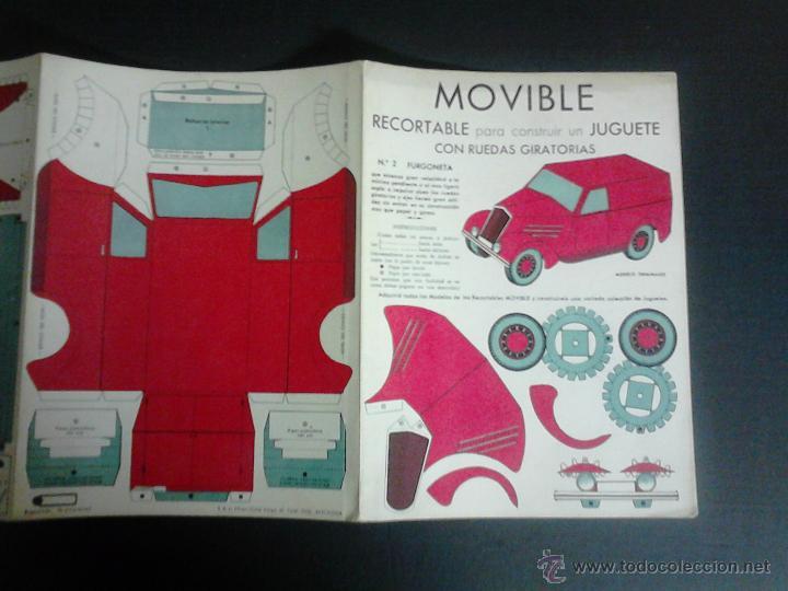Coleccionismo Recortables: MOVIBLE- RECORTABLE CONSTRUCCION JUGUETE - NUM. 2-FURGONETA RUEDAS GIRATORIAS - ROJO - (V-3512) - Foto 2 - 52639270