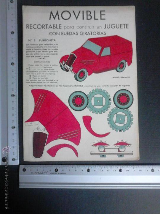 Coleccionismo Recortables: MOVIBLE- RECORTABLE CONSTRUCCION JUGUETE - NUM. 2-FURGONETA RUEDAS GIRATORIAS - ROJO - (V-3512) - Foto 4 - 52639270