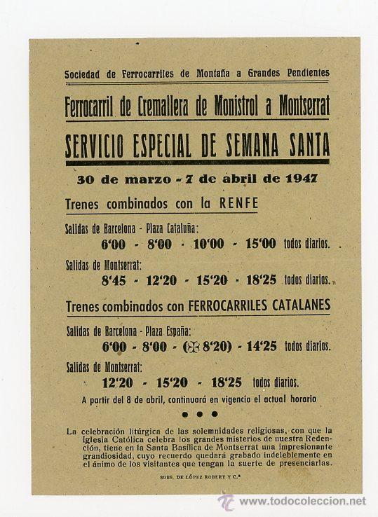 FERROCARRIL DE CREMALLERA DE MONISTROL A MONTSERRAT, HORARIO 1947 (Coleccionismo - Recortables - Transportes)